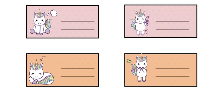 etiquetas para cuadernos de unicornios