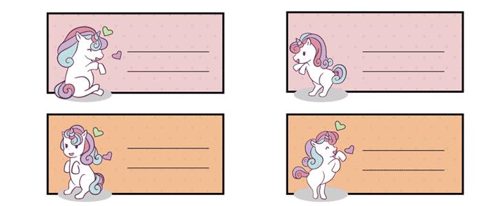 etiquetas para libretas de unicornio