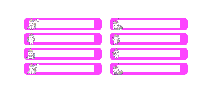 etiquetas para lapices de unicornio